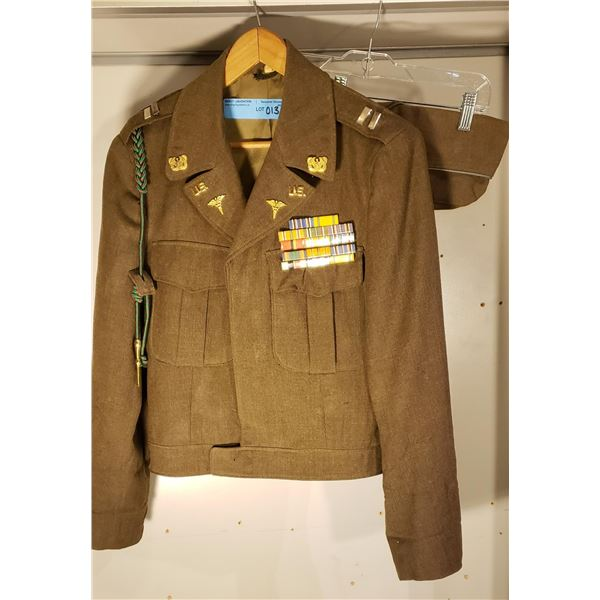 WWII US Army medical officer lieutenant IKE jacket. Comes with side cap (named)