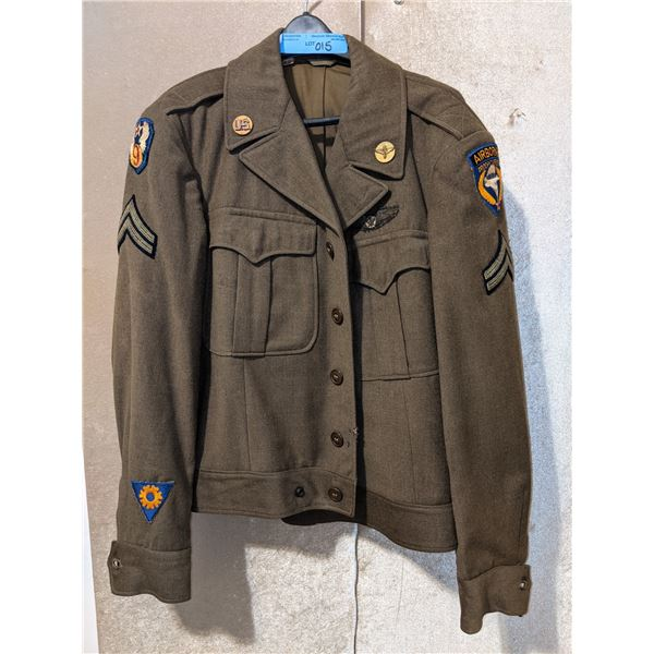WWII US Army air corps 1944 jacket, airborne troop carrier with bullion wings and airborne WWII cap