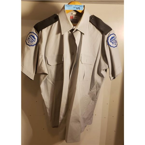 WWII Loomus car service shirt, vintage 2015 w/ patches