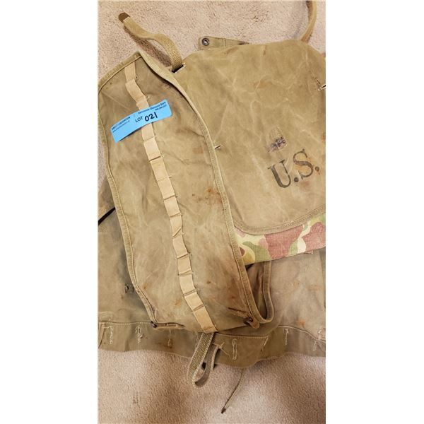 WWII US Marine corps camo shorts and assault pack