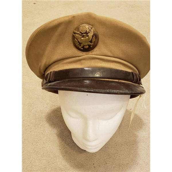 WWII Pre WWII US army NCO summer cap with rear and front chin straps