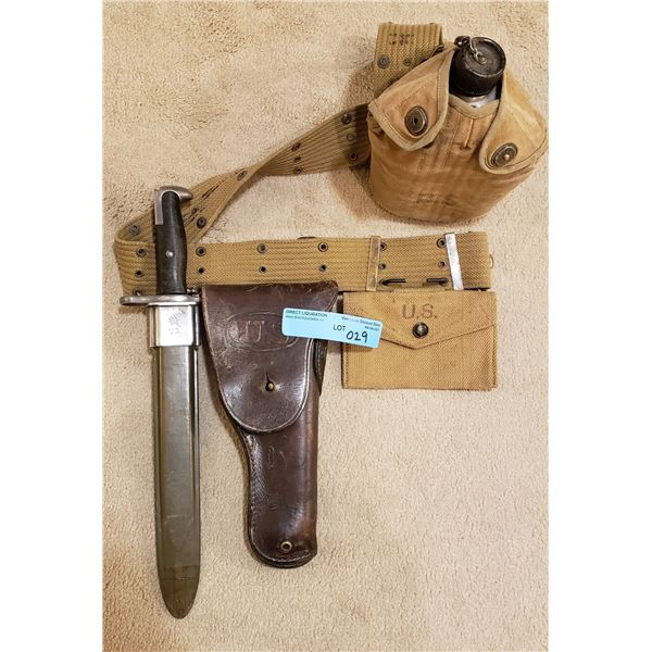 WWII US army complete belt holster, canteen, M1 Garand bayonet US mart