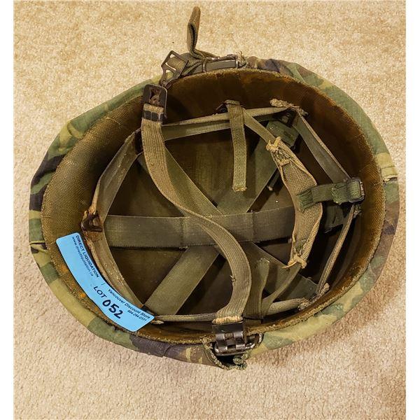 Vietnamese US army Saigon helmet with camo net and liner