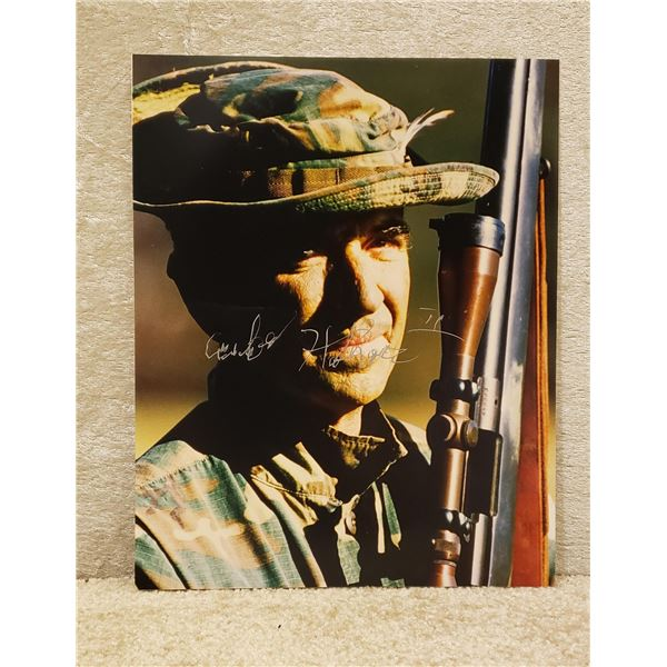 Saigon original signed picture of famous Vietnam sniper. Carlos Hathcock II