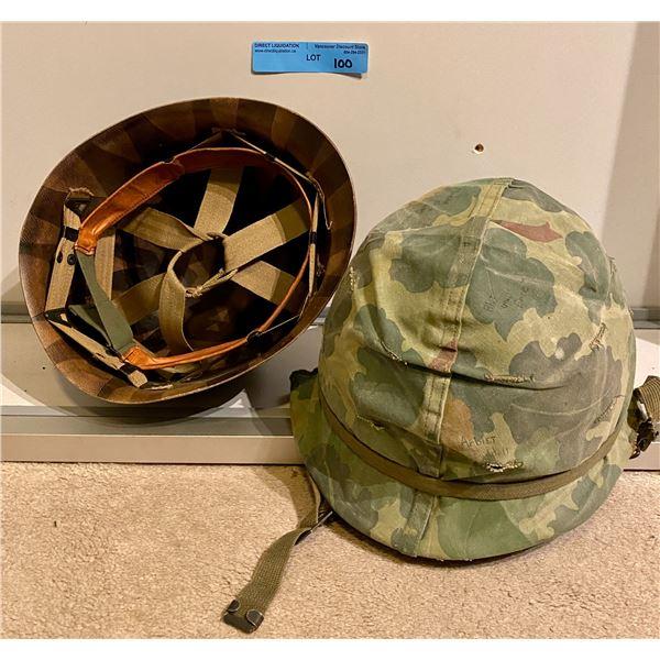 Saigon M1 Steel pot helmet with liner & camo cover