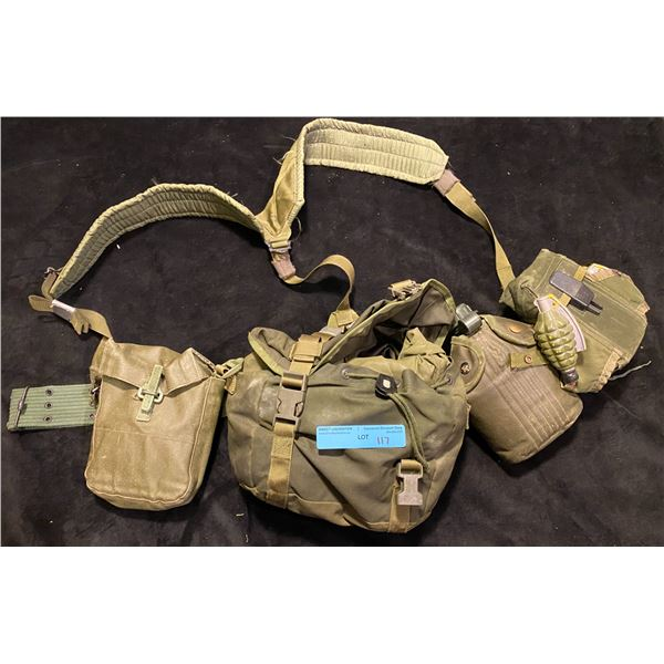 Cold War Canadian Miscellaneous Canadian cold war webbing set with poncho & toy grenades