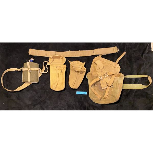 WWII Webbing Complete with bren gun mag pouches belt canteen