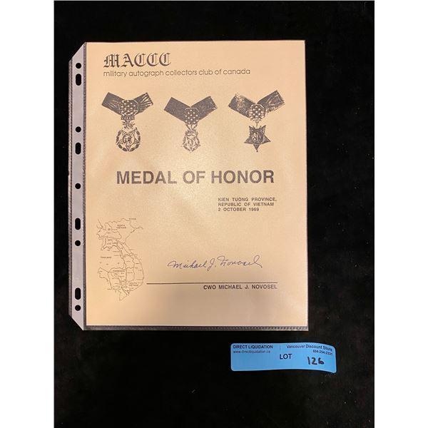 Saigon  Original Metal of honour Signature and history of Saigon Recipient CWO- Michael j. Novsel