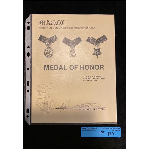 Saigon  Original Metal of honour Signature and history of Saigon Recipient CWO- SGT. Gary Lee Litter