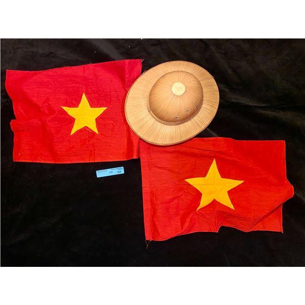 Saigon 2 North Vietnamese Combat flags with Hooch hat
