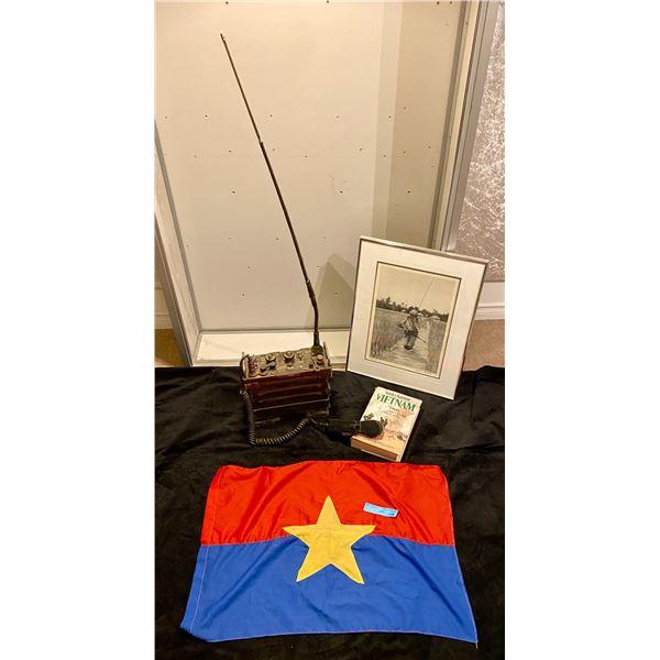 Saigon VERY RARE- Picture if Saigon radio operator  in the rice patty. The radio is called a PRC 25