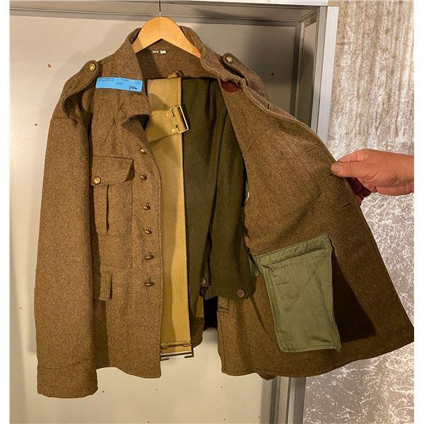 WWI Reproduction Canadian battle dress jacket & pants with P08 belt- Size Large (48)