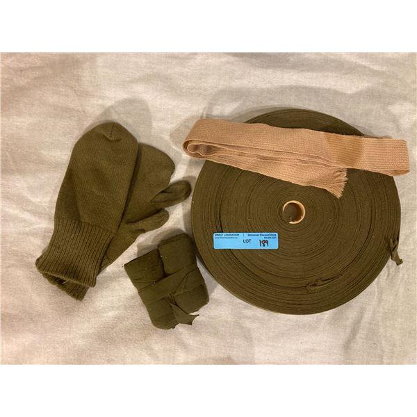Post War Canadian Bulk tie roll (Approx. 50 feet ?) Brown tie, mittens & puttees