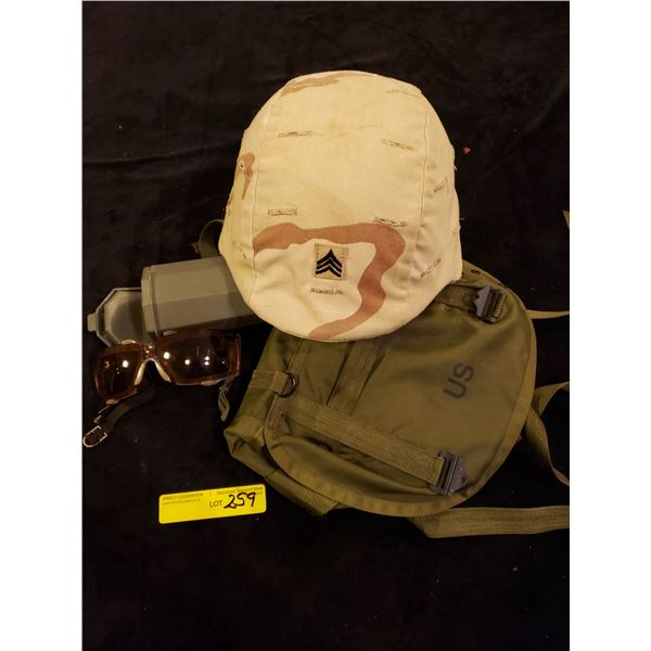 US Army  American Gulf war helmet, gas bag container