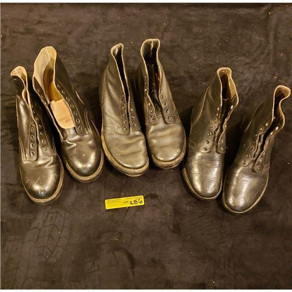 Post War  Post War three pairs Combat boots