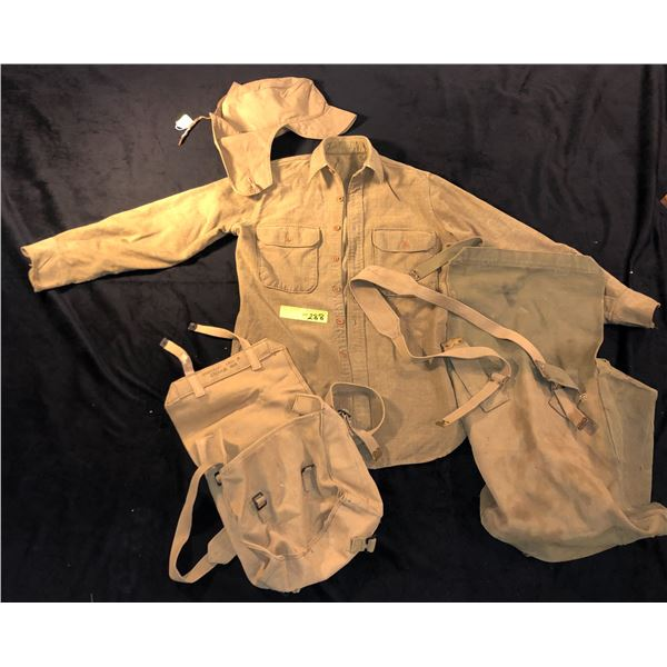 1950s & 1960s Canadian Military misc lot including 2 packs, 1 shirt and 1 hat