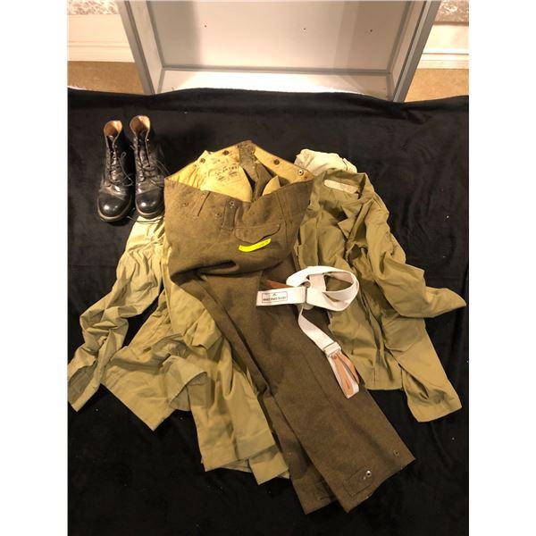 Reenactors world war II misc lot including 3 pants, 2 shirts, 1 Jacket, 1 pair of boots (Large size)