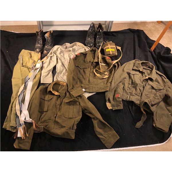 Reenactors world war II misc lot including 3 Jackets, 1 shirt, 1 pant, 2 pair of boots, 1 military c