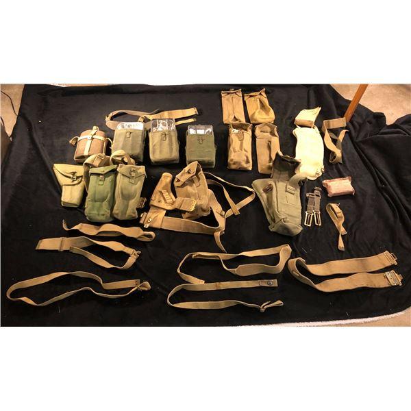 World War II and Korean War - A large lot of belts, straps, holster from World war II and Korean War