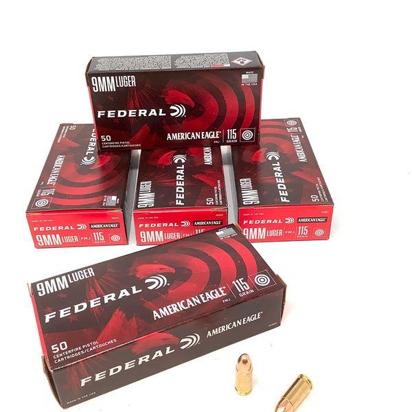 Federal American Eagle 9mm Luger Ammunition, 250 Rnds