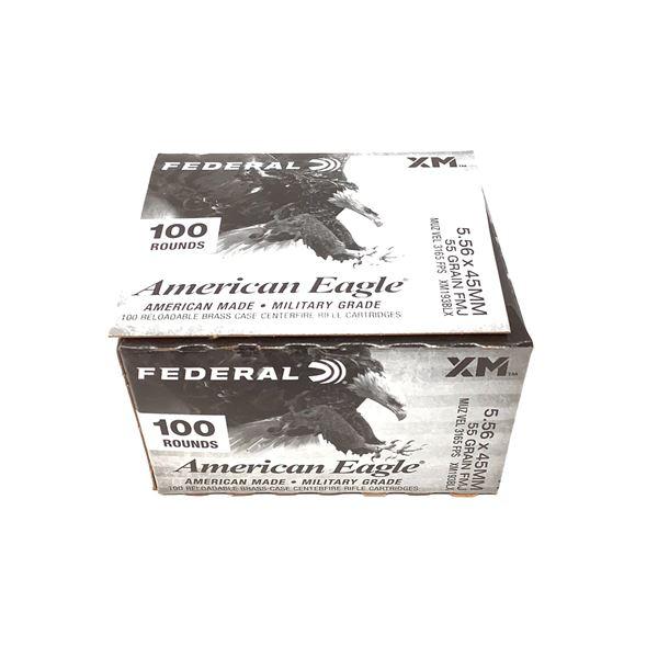 Federal American Eagle 5.56 x 45mm Ammunition, 100 Rnds