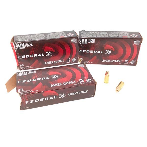 Federal American Eagle 9mm Luger Ammunition, 150 Rnds