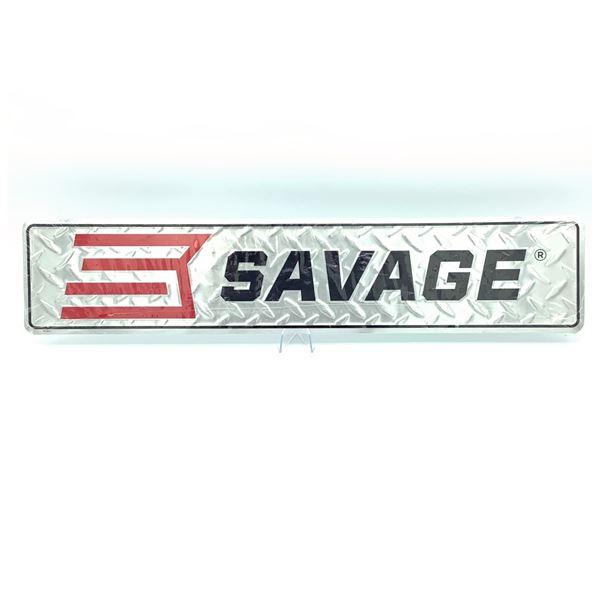 "Savage Tin Sign, 24"" x 5"", New"
