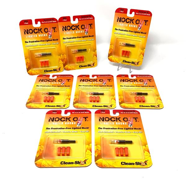 8 Clean Shot Nock Out Lighted Nocks, Red, New