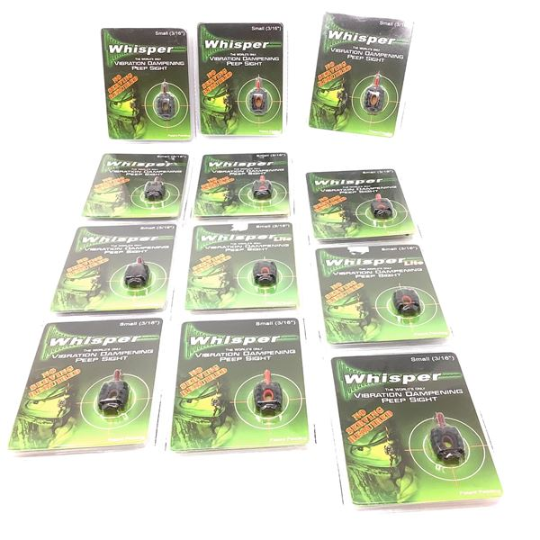 12 Assorted Small Whisper Vibration Dampening Peep Sights, New