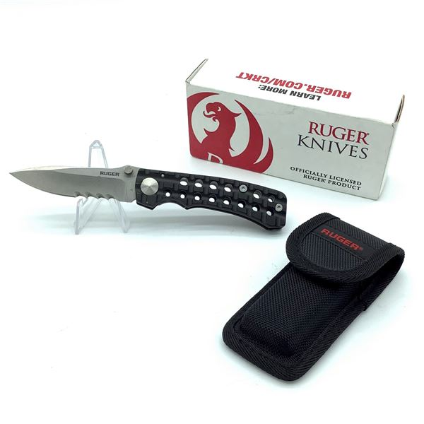 Ruger Go-N-Heavy Compact Combination Edge Folding Knife with Pouch, Demo Model