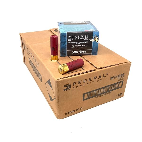 """Federal Steel 12 Ga 3"""" BB Ammunition, Case of 250 Rounds"""