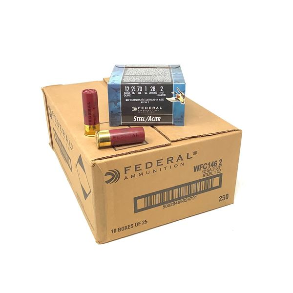 """Federal Waterfowl 12 Ga, 2 3/4"""" #2 Ammunition, Case of 250 Rounds"""