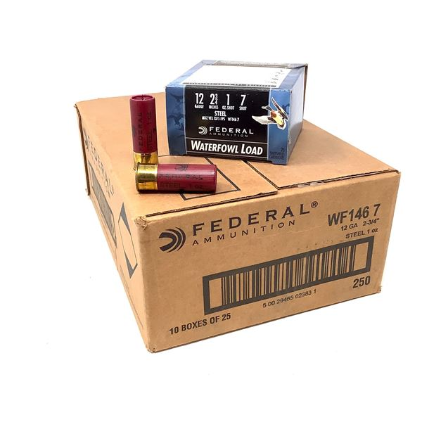 """Federal Waterfowl 12 Ga, 2 3/4"""" #7 Ammunition, Case of 250 Rounds"""