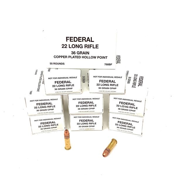 Federal 22 LR Copper-Plated 36 Grain HP Ammunition, 450 Rounds