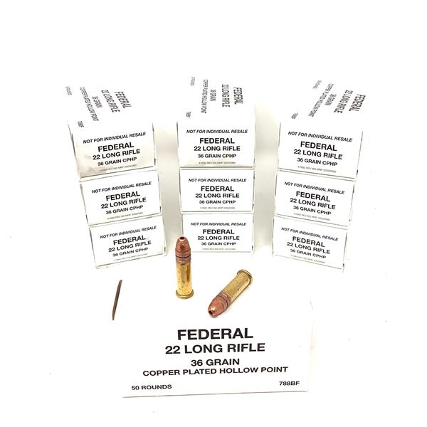 Federal 22 LR Copper Plated 36 Grain HP Ammunition, 500 Rounds