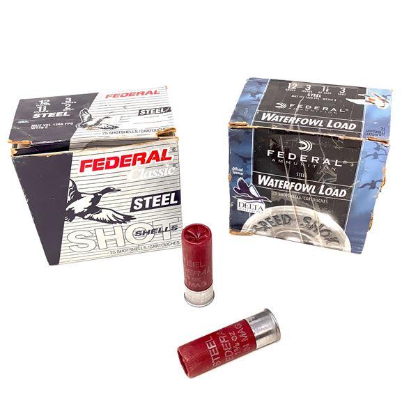 Assorted Federal Steel 12ga Ammunition - 40 Rnds & 3 Casings