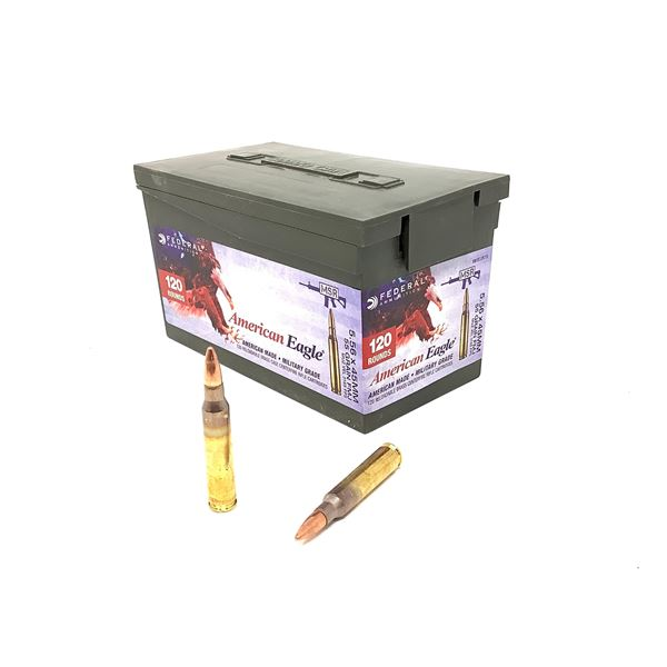 Federal Military Grade 5.56 X 45 mm 55 Grain FMJ Ammunition, 120 Rounds in an Ammo Can