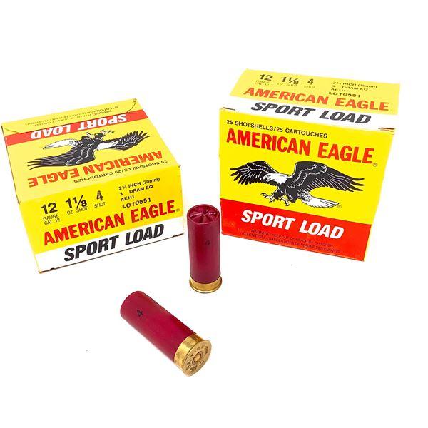 "American Eagle Sport 12 Ga 2 3/4"", #4 Ammunition, 50 Rounds"