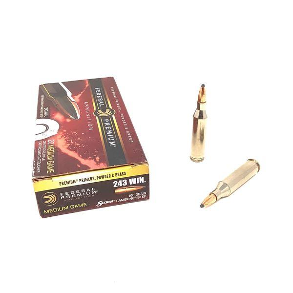 Federal Premium 243 Win 100 Grain Sierra Gameking BTSP Ammunition, 20 Rounds