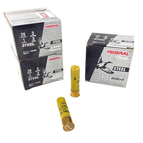 "Federal Classic Steel Magnum 20 Ga 3"" #3 Ammunition, 75 Rounds"