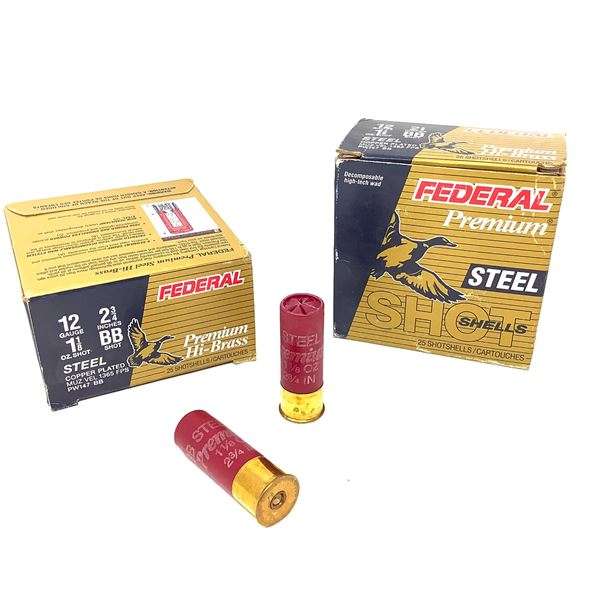 """Federal Premium Steel 12 Ga 2 3/4"""" BB Copper Plated Ammunition, 25 Rounds"""