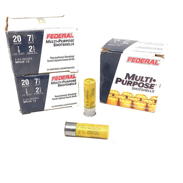 "Federal Multi Purpose 20 Ga 2 3/4"" #7.5 Ammunition, 75 Rounds"