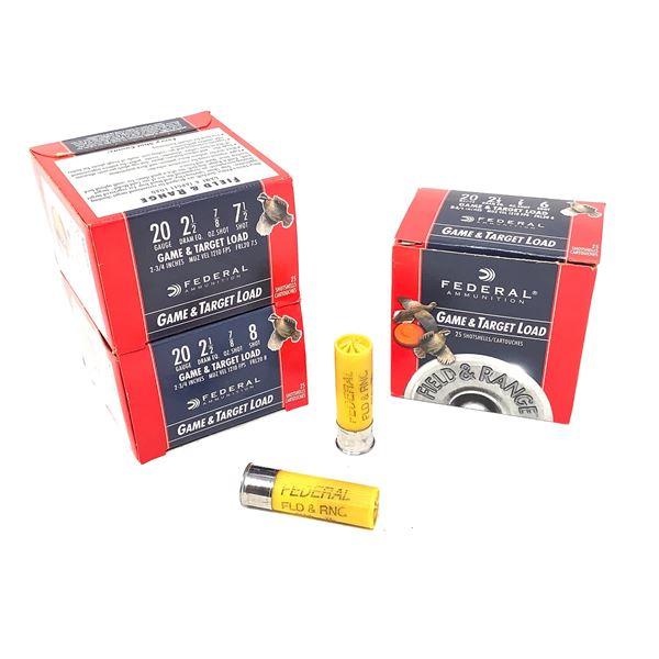 Assorted Federal 20ga Game & Target Load Ammunition - 75 Rnds