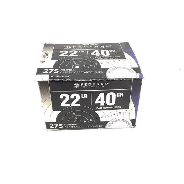 Federal 22 LR 40 Grain LRN Ammunition, 275 Rounds