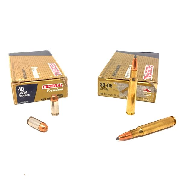 Federal Premium 40 S & W, 50 Rounds and 30-06 SPRG Ammunition, 20 Rounds