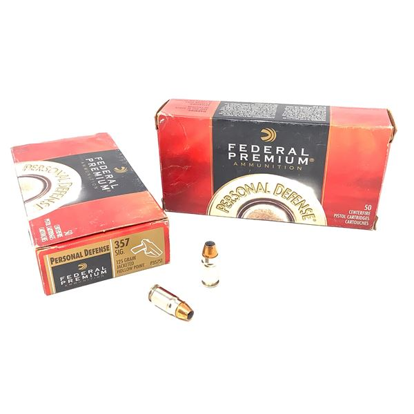 Federal Personal Defense 357 Sig 125 Grain HP Ammunition, 100 Rounds