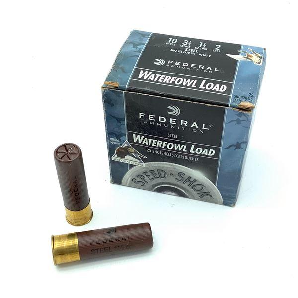 "Federal Waterfowl 10 Ga 3 1/2"" #2 Ammunition, 25 Rounds"