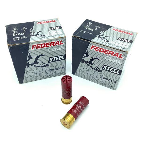 "Federal Steel Classic Magnum 12 Ga 3"" #4 Ammunition, 50 Rounds"