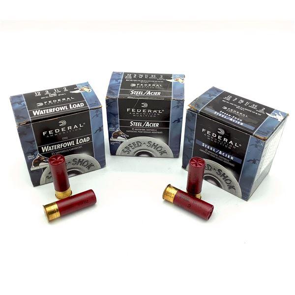 "Federal Steel 12 Ga 3"" #2 Ammunition, 75 Rounds"