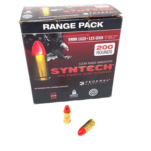 Federal 9mm Luger Syntech Range Pack Ammunition - 200 Rnds